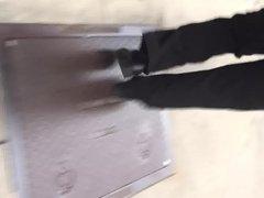 Bubble butt black MILF in black dress pants