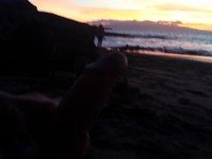 masturbation beach in front girl with cum