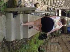 SSBBW big butt walking up stairs