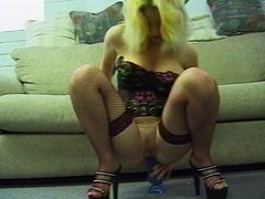 Blonde Girl In Stockings Self Pleasure