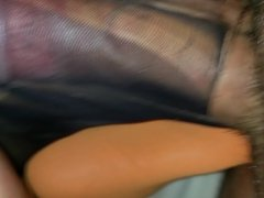 Ripped nylon foot and sole fuck