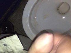 Jerking my uncut cock in a random public restroom