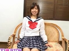 Ai Kazumi in school uniform sucks cock