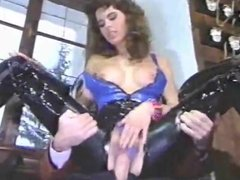 sexy brunette in leather sucks and gets stuffed
