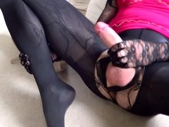 Wanking my tranny cock with huge cum load over my pantyhose