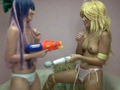 Panty & Stocking Japanese cosplayers playing