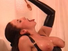 Latex Sub serves her Mistress honey