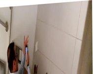 Str8 spy nerd daddy in public toilet