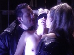 Blindfolded blonde threesome hole stretching