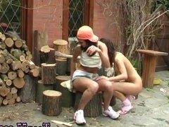 Italian girl teen Cutting wood and munching