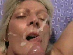 Mature Blonde POV facial cumshot