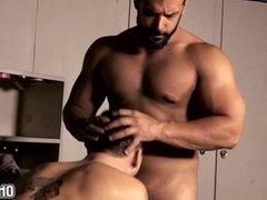 Big Bear bareback anal fuck with a twink