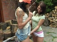 Emo teen extreme sex Cutting wood and