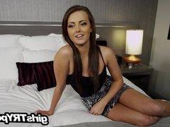 Stunning brunette first ever adult video