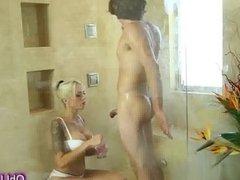 Amazing blonde step mom gives warm massage