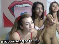 Mixed teens asian ebony and white girl
