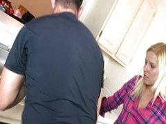 Cute teen jerks off the handyman's cock