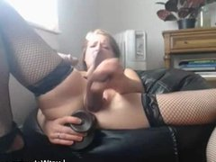 Blonde babe dildoing her pussy and ass on cam