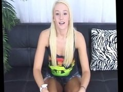 Blonde teen babe jerks off a dick