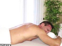 Blonde masseuse eats cum