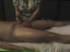 Happy massage on hidden camera