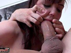 Natural tits throat fuck