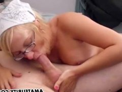Blonde amateur ex-GF sucks and fucks with cum