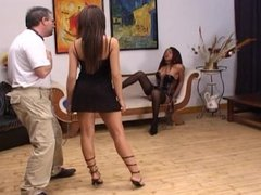 Tranny and girl dominate older guy