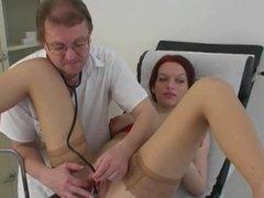 Kinky redhead fucks her doctor