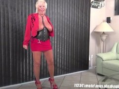 Sexy granny Mandi McGraw talking sex store