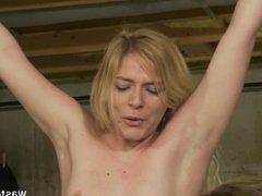Electro session for pretty blonde slave