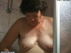 Grandma dildoing after a shower