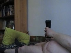 Fat guy plays for the first time with dildo