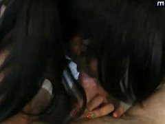 Teen brunette shemale gives blowjob