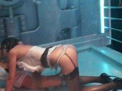 Hot lesbian pornstars lick pussies in club