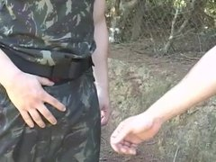 Army hunk gets his ass destroyed outside