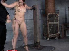 Anally hooked slut being whipped