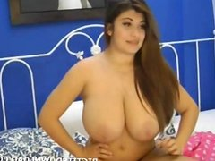 Brunette massive natural big tits in webcam