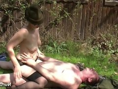 German MILF Seduce to Fuck outdoor in Forest