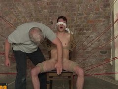 Twink gets a blowjob while being cuffed