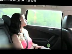 brunette hard fuck in fake taxi