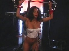 Ebony lesbian passionate toy sucking