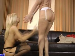 Lesbian fetish babes posing in their nylons