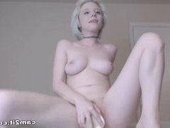 Blonde Teen Rides A Big Dildo On The Table