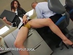 Japanese office girl gets fucked by two from