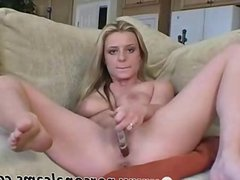 Teen uses a glass dildo on her ass part 1