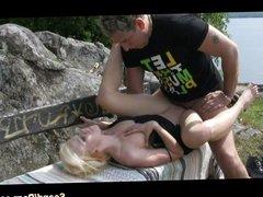 Blonde rides hard outdoors