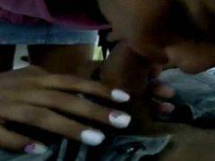 Ebony Teen helps him ejaculate