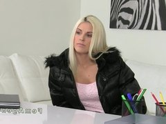 Pierced pussy blonde fucked strap on