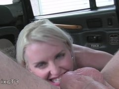 Blonde gets first time anal in a fake taxi